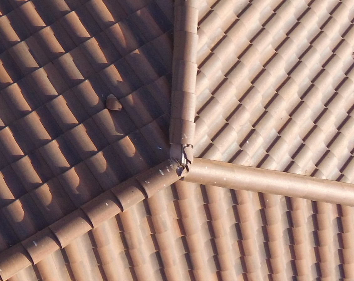 Drone photo of damaged roof tiles