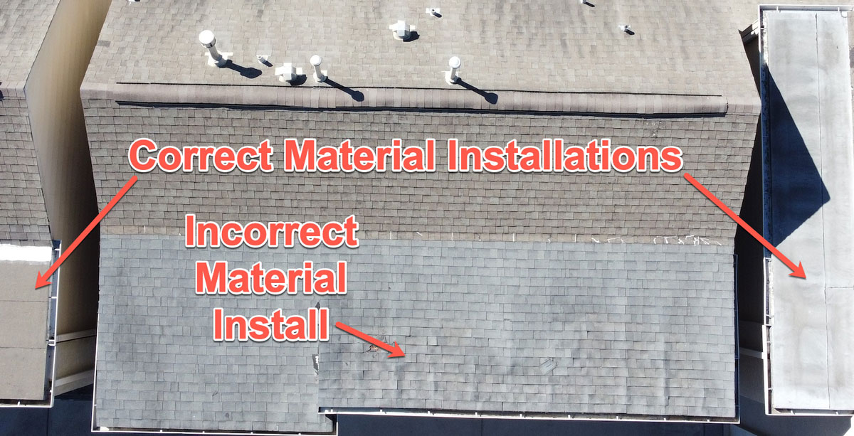 Texan Inspection drone roof inspection showing damaged roof due to improper material used during construction